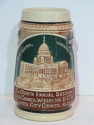 Antique 1/2L German Beer Stein Celebrating New Capitol Building in Madison, WI