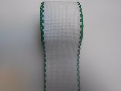 "Zweigart 3"" White with Green Scalloped Edge Aida Band Cross Stitch Fabric 1m"