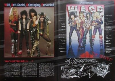 W.A.S.P. BLACKIE LAWLESS Chris Holmes Randy Piper 1984 CLIPPING JAPAN BR D17 3P