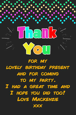 Personalised Neon Glow Birthday Party Thank You Cards inc Envelopes Neon 9