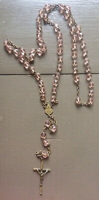 Ancien Chapelet Laiton Perles Verre Rose/ Antique Old Rosary Beads Glass Pink