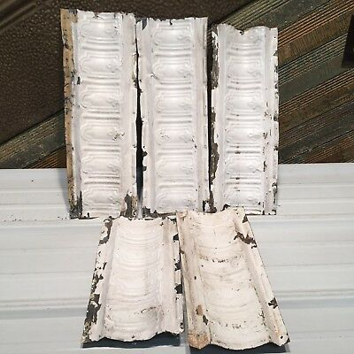 """5pc Lot of 16""""- by 7"""" Antique Ceiling Tin Vintage Reclaimed Salvage Art Craft"""