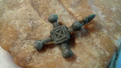 "MEDIEVAL VIKING-AGE BRONZE ""BUDDED"" CROSS PENDANT 10-13th CENTURY"