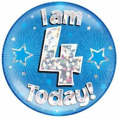 """6"""" Jumbo Blue I Am 4 Today Badge Boys 4th Birthday Party Supplies Holographic"""