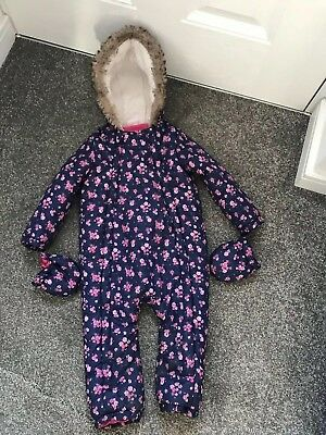 All In One Snowsuit Polyester With Gloves 18-24 Months Blue/Pink Floral Pattern