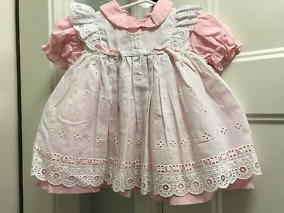 Vintage Girls Sz 12 Mo Pink/White Two-Piece Dress Unbranded VGUC Ruffle Pinafore