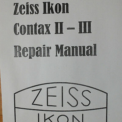 Zeiss Ikon Contax II III Repair manual