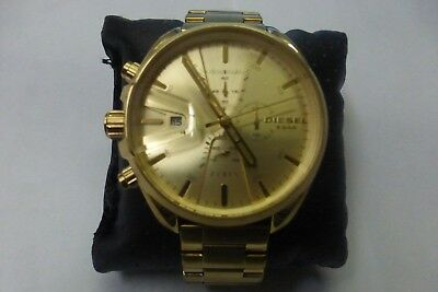 23e9a028a DIESEL DOUBLE DOWN Chronograph Gold-Tone Dial St.steel Men's Watch ...
