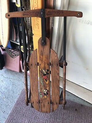 Antique 1935 Disney Mickey Mouse Flexible Flyer Children's SLED