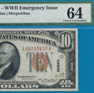 $10.1934-A Hawaii Brown Seal  Federal Reserve Note..pmg Choice New 64
