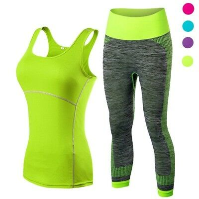 Ladies Sports Leggings Running Cropped Top 3/4  Yoga Gym Training Set Clothing