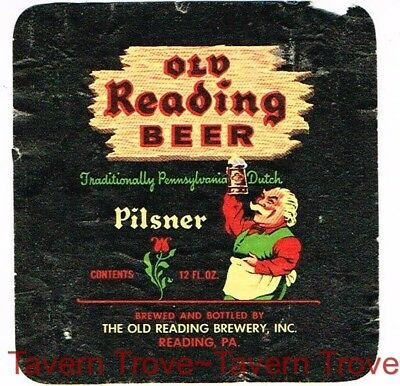 Soaked 1950s Pennsylvania OLD READING PILSNER BEER 12oz Label Tavern Trove