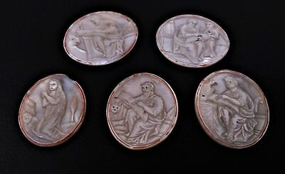 ANTIQUE CARVED MOTHER OF PEARL PLAQUES, SET OF 5, THE HOLY LAND, MID 19thC.
