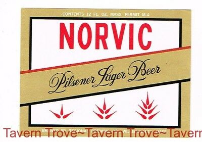 1960s MASSACHUSETTS Willimansett NORVIC LAGER BEER 12oz Label Tavern Trove