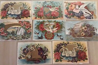 Pretty~Lot of 8 Fancy Doves~Birds~Roses~Flower~Victorian Greeting Postcards-a508