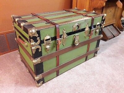 Antique green and black wood metal Steamer Trunk