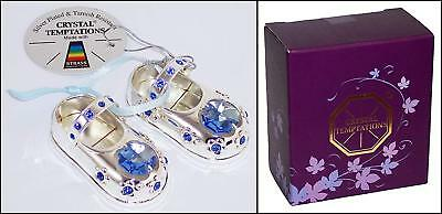 Blue Baby Boy Silver Plated Crystal Shoes 1st Birthday Christening Keepsake Gift