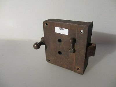 Victorian Iron Door Lock Antique Sliding Pull Bolt Old Bathroom WC 1800's