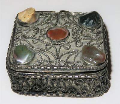 Vintage Ornate Filigree Sterling Silver Stones Cabochon Pill Patch Box