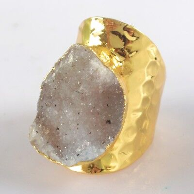 Scratched Size 6 Natural Agate Druzy Geode Ring Gold Plated T073617