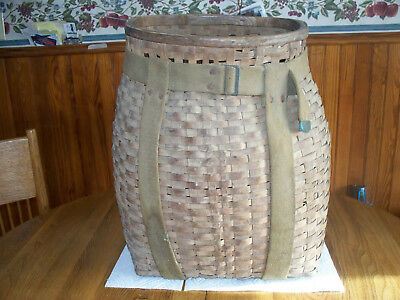 Vintage Native American Spint Ash Pack Basket -- Penobscot (Maine)