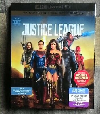 Justice League 4K/Blu Ray 2 Disc DC movie with Slipcover