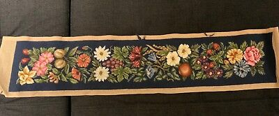 Fruit&floral Wool Tapestry Unfinished Bell Pull.beautifully Stitched VGC