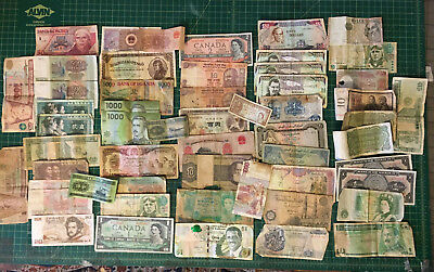 World Currency foreign Banknotes large Lot of 50 + circulated Notes Mix