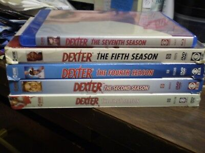 (5) Dexter Season Blu-Ray/DVD Lot:  Seasons 1, 2, 4, 5 & 7   Michael C. Hall