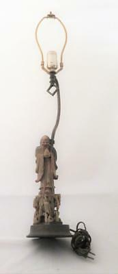 Antique Chinese Soapstone Shou Lao Deity Figural Table Lamp