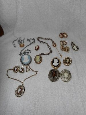 Vintage Lot Of Faux Cameo Jewelry - Necklaces Brooches Earrings Stick Pin