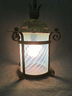 Antique Arts Crafts Ceiling light Fixture Spiral Cylinder Vaseline Glass 17-19E