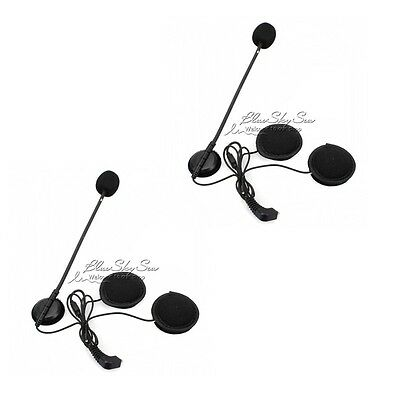 2xEarpiece Microphones Fr BT-S2 BT-S1 BT-3.1 Helmet Intercom Headset Portable