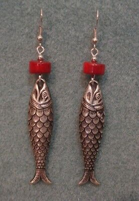 Vintage Asian Oriental Chinese Lucky Koi Fish Coral Pierced Dangle Earrings SP