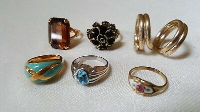 6 Vintage Costume Rings- 1 Marked Avon-4 Gold Tone-2 Silver Tone-Sizes 3 to 6