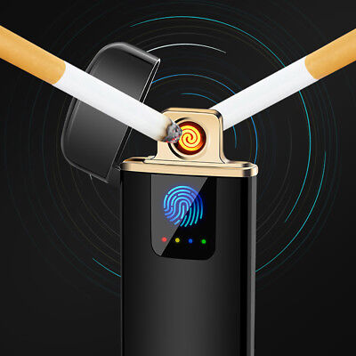 Rechargeable USB Electric Dual Arc Flameless Torch Windproof Cigarette Lighter