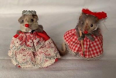 """Two Vintage Toy Mice  """"Original Fur Toys"""" West Germany 2"""" Tall"""