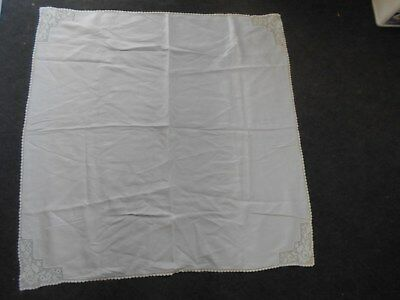 vintage cotton tablecloth white with white crochet crocheted corners & edges