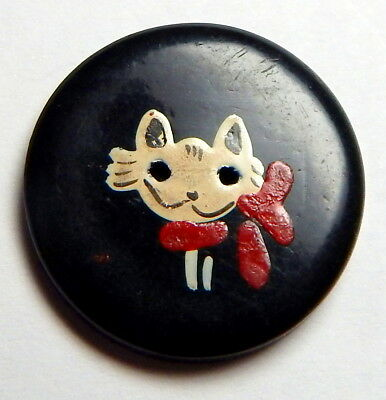 """ADORABLE 1940'S FRENCH CELLULOID CHILD'S BUTTON w/HAND PAINTED """"KITTY CAT"""""""