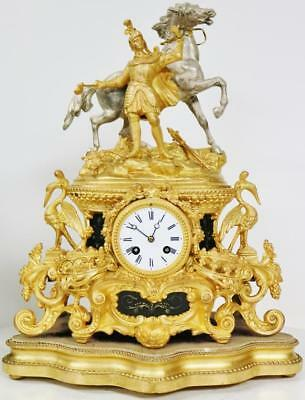 Antique French 8 Day Striking Gilt Metal Horse & Knight Figural Mantle Clock