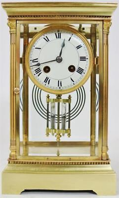 Amazing Antique French 8 Day Brass & Bevelled 4 Glass Regulator Mantle Clock