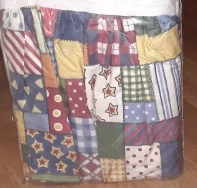 NIP Hobby Horse Pattern Patch Work Crib Dust Ruffle  Bed Skirt