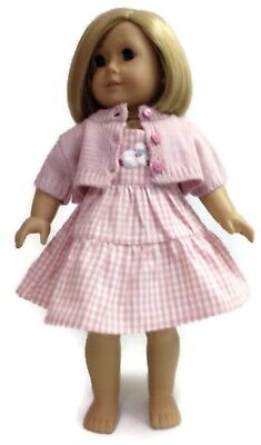"Pink Plaid Sleeveless Dress & Sweater for 18"" American Girl Doll Clothes"