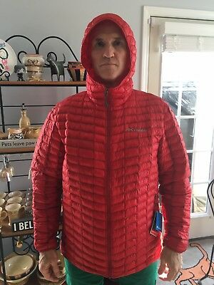 Columbia Micro Cell Synthetic down hooded jacket NWT L Red hiking