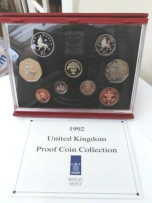 Royal Mint UK Proof Coin Set 1992 in Hard Acrylic  Case inc EEC 50p
