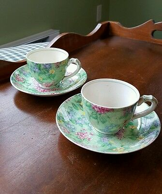 Fine Chintz Empire Lilac Time 2 Tea Cups and Saucers Demitasse
