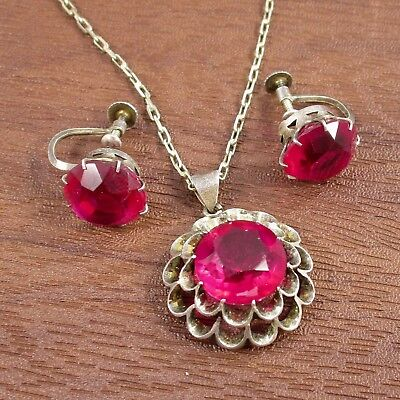Pendant Necklace & Earring Set Vintage Sterling Silver & Pink Stones 10.1 Grams