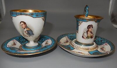Napoleon and Josephine OLD DRESDEN pair porcelain DEMITASSE cup and saucer set