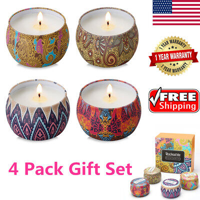 4 Pack Scented Candles Set Lead-Free Lavender Rose Lemon Fig Aromatherapy Relax