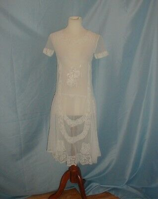 Antique Vintage Dress 1920 Embroidered Net and Filet Lace Dress